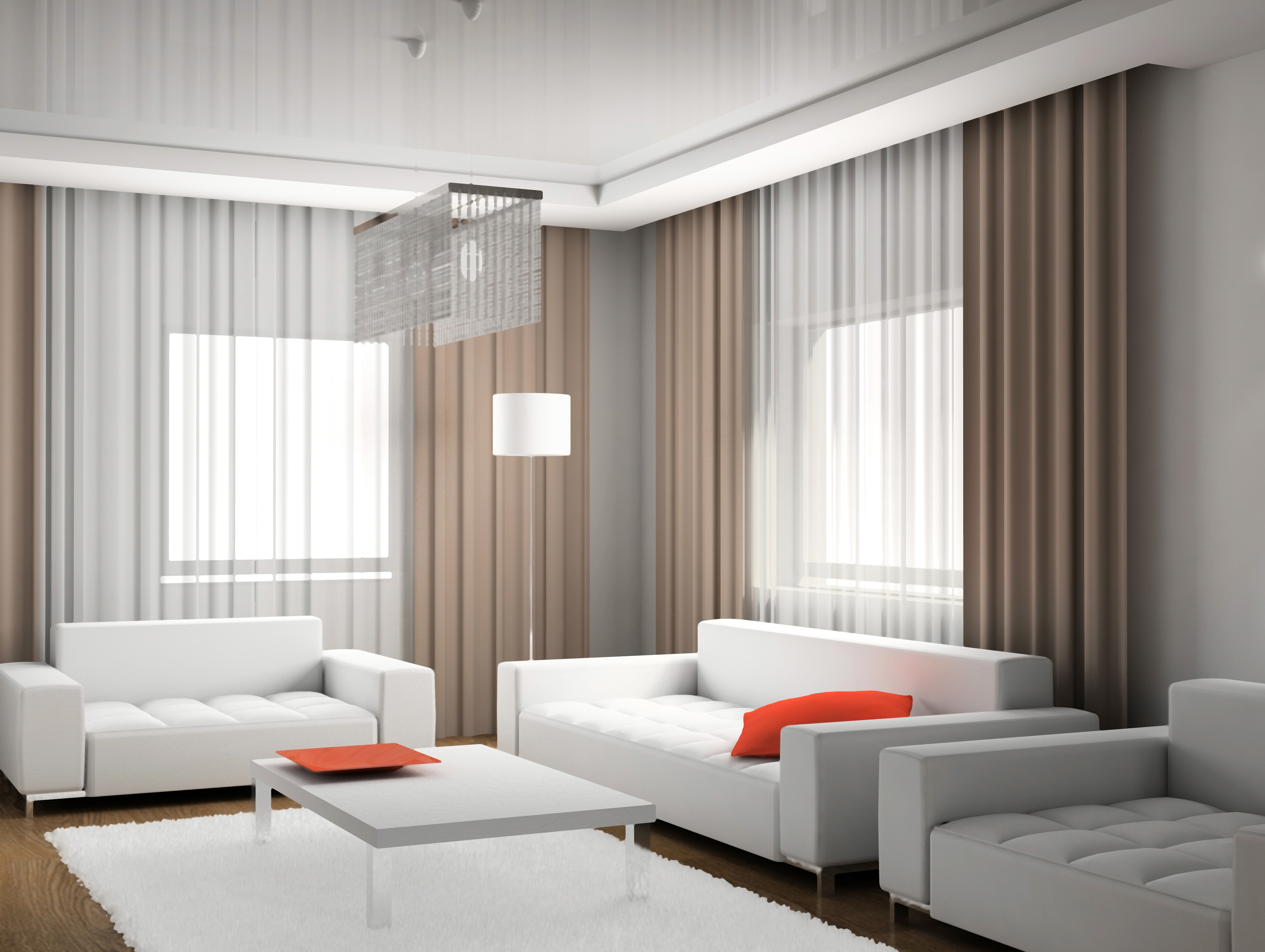 Шторы в современном интерьере зала фото